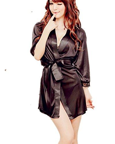 Samgu-A Sexy Lingerie Pyjama Nachtkleid Frau In Satin mit Spitze und Gürtel eine stilvolle und komfortable One Size + String (schwarz) (Kleinkind Pyjama Satin)
