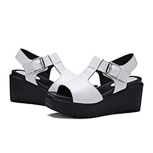 TMKOO 2017 nouvelles sandales adoucissantes de tout gâteau de grande taille fond de la tête carrée Blanc