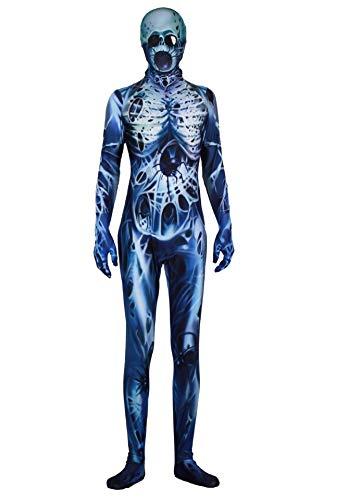 URVIP Jungen Mädchen Halloween Jumpsuit Kostüm 3D Print Langarm Skinny Skeleton Catsuit Cosplay Overall Body Blau Spinnen Schädel S