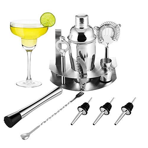 OCDAY Cocktailshaker Set, Premium 12-teiliges Edelstahl Cocktail-Set: Professioneller 550ML Cocktail Shaker/Martinishaker/ Mixer mit Sieb/Messbecher/ Barlöffel/Gabel/ Barstößel