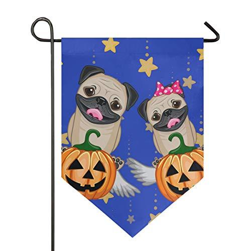 DEZIRO Garten-Flagge, Halloween-Hunde mit Kürbiss, vertikal, doppelseitig, Dekoration für alle Jahreszeiten und Urlaub, Polyester, 1, 28x40in