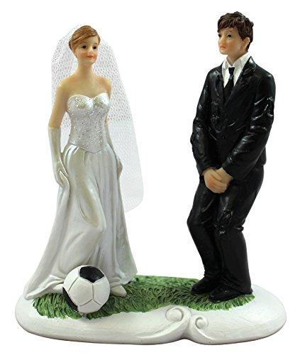 1 x Dekofigur - Brautpaar Mr. & Mrs. ''Fußball'' | Hochzeitsgeschenke für Brautpaar | Hochzeitsdeko | Brautpaar Figuren | Hochzeitsgeschenk | Tortendeko | Tischdeko Hochzeit | Dekofiguren | Brautpaar für Hochzeitstorte | Preis am Stiel®