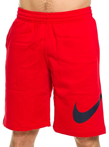 Nike Club short-exp Swoosh–Bermuda sportivi per uomo Rosso / Ossidiana (University Red / Obsidian)