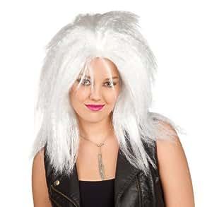 Perruque punk blanche frisée femme