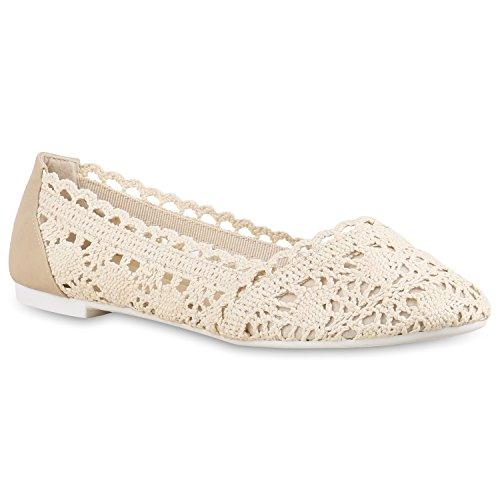 Damen Ballerinas Spitze Schleifen Flats Vintage Slipper Ballerina Sommer Schuhe 137530 Creme Strick 39 | Flandell® (Vintage Ballerina)