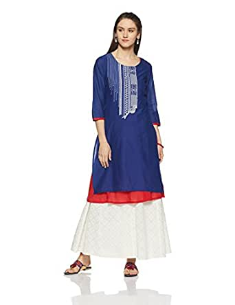 Rangmanch By Pantaloons Women's A-Line Kurta (110008559_Blue_Small)