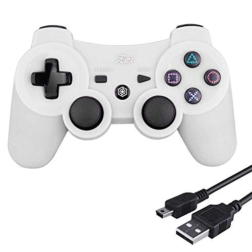 Kabi Wireless Controller Double Shock Gaming Controller 6-Achsen Bluetooth Gamepad Joystick mit kostenlosem Ladekabel für PS3 Controller für Playstation 3 (Weiß)