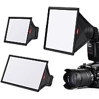 TYCKA Flash Softbox difusor Kit (Universal, Plegable) Incluyen 15 x13cm, 23 x 18cm, 33 x 20cm para Nikon, Canon, Sony, yongnuo y Otros Flash DSLR