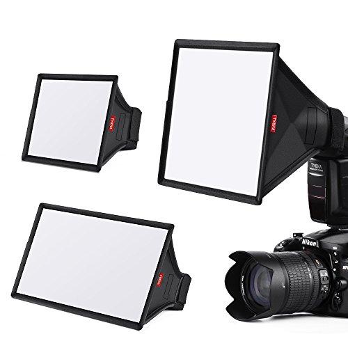 TYCKA Blitzlicht Softbox Diffusor Kit (universal, zusammenklappbar) enthalten 6x5 Zoll, 9 x 7 Zoll, 13 x 8 Zoll für Nikon, Canon, Sony,...
