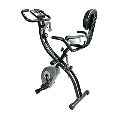 ATIVAFIT Foldable Exercise Bike Fitness bike with Hand Pulse Sensor LCD Display, Comfy Seat and Handles Black by ATIVAFIT