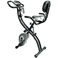 ATIVAFIT Foldable Exercise Bike Fitness bike with Hand Pulse Sensor LCD Display, Comfy Seat and Handles Black