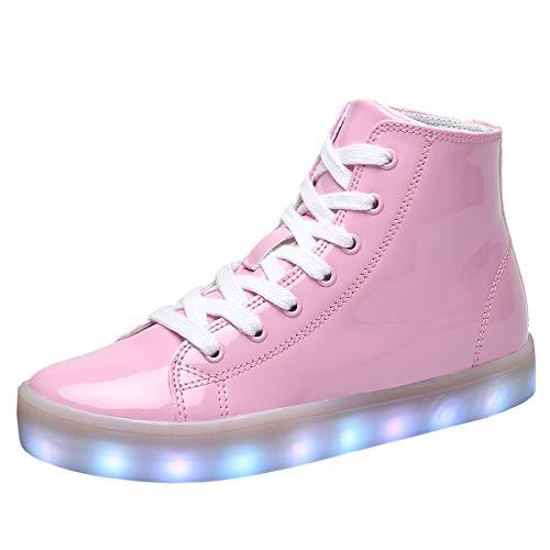 Voovix Kinder Schuhe mit Licht LED Leuchtende Blinkende High-Top Sneaker Mädchen Jungen USB Aufladen Turnschuhe(Rosa,35)
