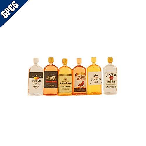 Comidox 6 Stück/Set 1:12 Puppenhaus Miniatur Wein Whiskey Flaschen Modellshop Pub Bar Drink Puppe Haus Spielen Essen Zubehör