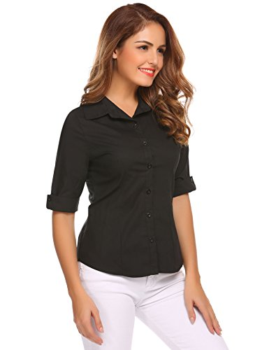 HOTOUCH Damen Shirt Hemd 3/4 Ärmel Casual Bluse Einfarbig Oberteil Hemdbluse Damenbluse Shirtbluse Baumwolle Typ1-Schwarz