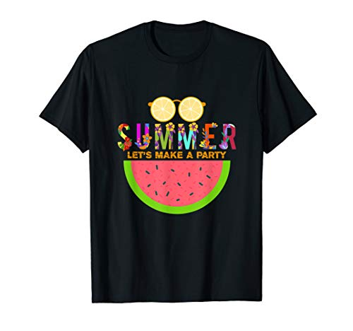Let's Make A Party, Watermelon Slice & Lime Sun-glass Summer T-Shirt (Green Lime Sonnenbrille)