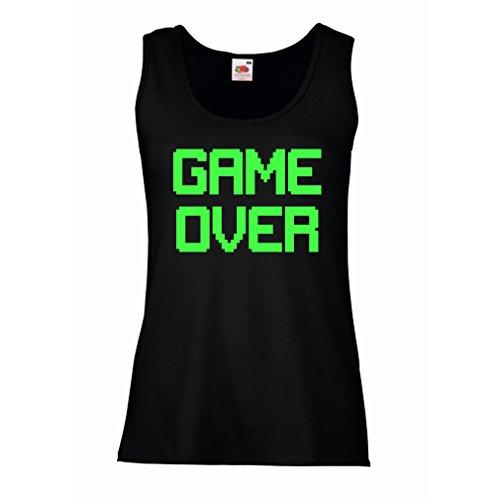 Damen Tank-Top Spiel über lustige Gamergeschenke (Medium Schwarz Grün) (Do It Yourself Kostüme Für Babys)