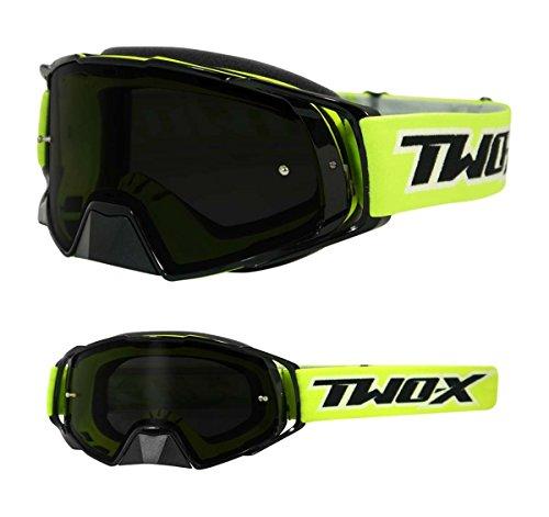 TWO-X Rocket Crossbrille schwarz gelb Glas getönt grau MX Brille Nasenschutz Motocross Enduro Motorradbrille Anti Scratch MX Schutzbrille Nose Guard