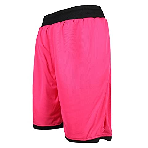 JEASS Men's Basketball Shorts for Men Workout Shorts Trousers with Pockets Mesh Lining Red Black XX-Large