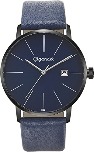 Gigandet Men's Quartz Wrist Watch Minimalism Analogue Leather Strap Blue Black G42-010