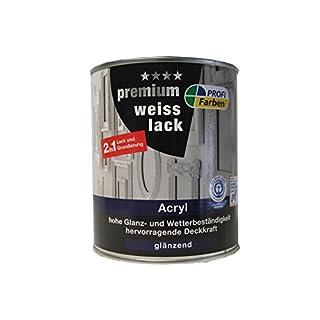ProfiFarben 2in1 Premium Weisslack RAL 9010 Reinweiß Acryl 2in1 Lack und Grundierung glänzend 0,75 L