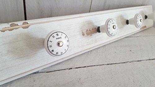 Lilienburg XXL Garderobe Wandgarderobe Kleiderhaken -KE- Shabby Keramik Holz 60cm gross - Möbelknopf