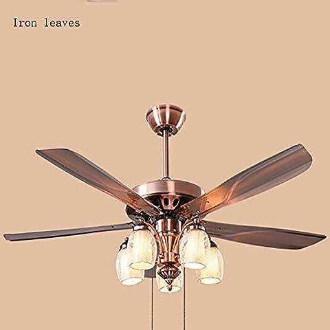 TOYM UK 52-inch bedroom European-style living room lights American restaurant fan chandelier simple modern fan lights ( Color : Iron leaves