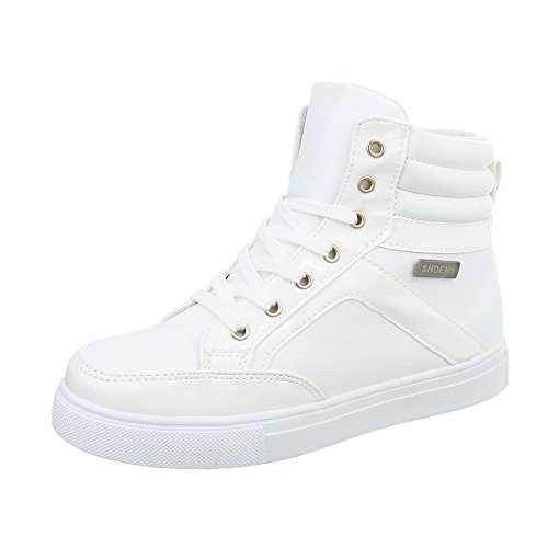 Chaussures Pour Femmes Sneakers Plates Sneakers Haute Ital-design Blanc N-16-2
