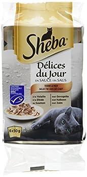 SHEBA Délices du Jour Set de 12 x 6 Sachets Fraîcheur à La Volaille/aux Poissons en Sauce pour Chat 50 g