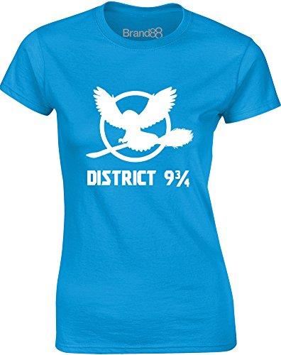 Brand88 - The District, Gedruckt Frauen T-Shirt Türkis/Weiß