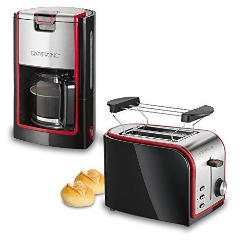 Clatronic-Retro-Set-desayuno-Cafetera-8-a-10-tazas-Tostadora-2-ranuras-negro-y-rojo