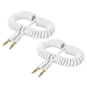 UGREEN Cavo Audio Stereo a Spirale di 3,5mm Maschio a Maschio per il Sistema Stereo dell' Autoveicolo per iPhone, iPad, Smartphones, Tablets, Riproduttori Multimediali, 2Pack, Bianco