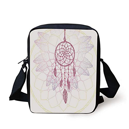 LULABE Hippie,Ethnic Style Dream Catcher Concept Artwork Indian Spiritual Vintage,Hot Pink Lilac Light Yellow Print Kids Crossbody Messenger Bag Purse