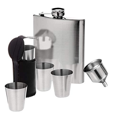 Oramics Flachmann Set aus Edelstahl bestehend aus 200 ml Taschenflachmann, 4 Schnapsgläser, Trichter und Gürteltasche für die Schnaps Becher (Chrom)