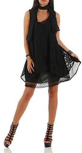 malito Damen Strickkleid mit Schal | Maxikleid mit Spitze | ärmelloses Freizeitkleid �?Kostüm 7358 Schwarz