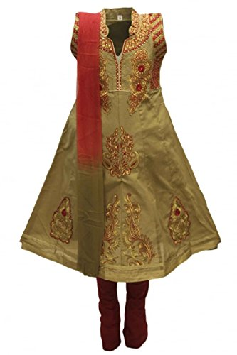 Dress Billig Childrens Fancy (GCS3287 Olive Green und Maroon Girl Churidar Anzug Indian Bollywood Fancy Dress 24 (approx 4-5)