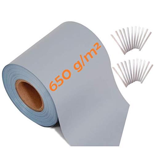 workingHOUSE Sichtschutzstreifen PREMIUM 650 g je qm, Extrem Stabil, 35m x 19 cm Breite, Blickdichte Zaunfolie, inkl. Klemmstreifen, Hochwertig Stabil Blickdicht