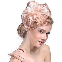 dressfan Elegante cappello Fascinator per donna. Fascia per capelli in lino  irregolare. Accessori per 144dc91e9af1
