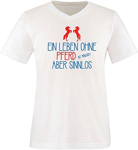 EZYshirt® Ein Leben ohne Pferd ist möglich Aber sinnlos Herren VNeck TShirt  Weiß/ Blau/ Rot