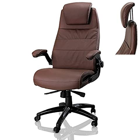 eMarkooz (TM) Office Computer Desk chair swivel PC office chair Tilt Function Padded Adjustable Height PU Leather fine fabric (Paddes Brown Chair with Neck