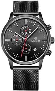 ساعة ميجير للرجال كوارتز ، عرض كرونوغراف و سوار من الستانلس ستيل - 2011G