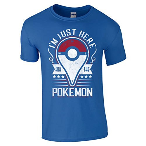 BOMOVO Herren Pokemon Go T-Shirt Basic - Slim Fit Blau