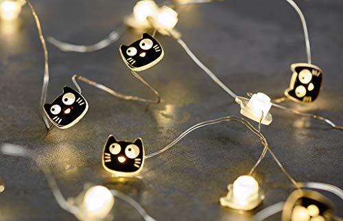 moses. Ed, The Cat Mini 2,20 m Lichterkette im Katzen-Design | 20 LEDs für den Innenbereich, schwarz