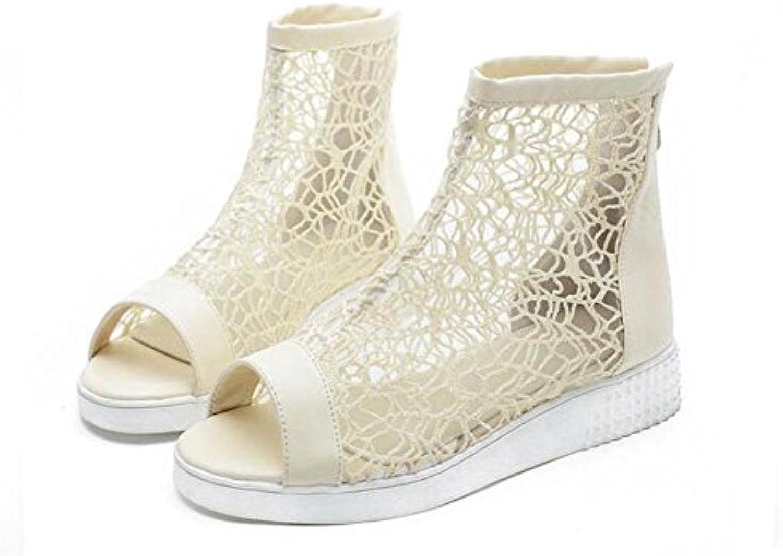 Peep Toe bomba encantadora botas gruesas encaje fresco botas 40/41/42/43 sandalias de gran tamaño para las mujeres...
