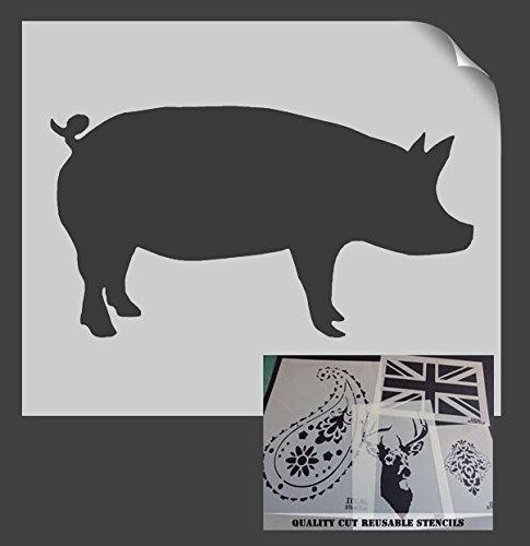 one, Home Decor, Art Craft Painting ideal Schablonen LTD, plastik, L/29x54cm (Pig-craft)