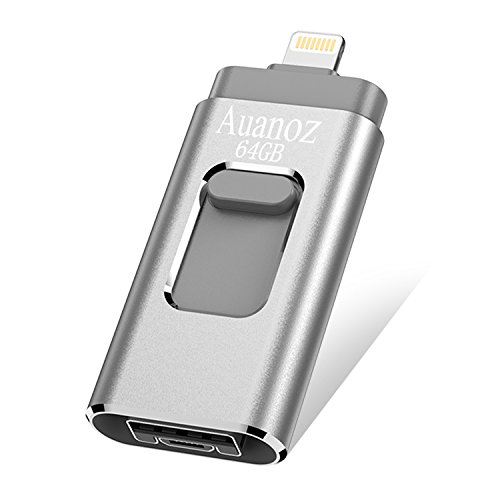 Auanoz IOS Flash Drives 64 GB iPhone Memory Stick, External Storage Memory Stick Adapter Expansion for iPod/iPhone/iPad/Android & Computers (Silber) (Card Memory Expansion)
