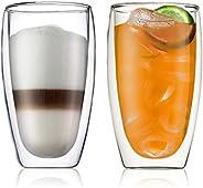 Bodum BD-4560-10 2pieces Pavina Double Wall Glass, Clear, W 19.6 x H 16.0 x L 10.2 cm, 0.45 L