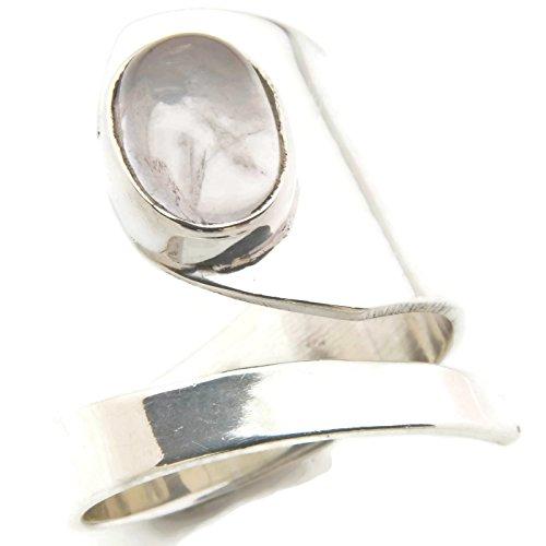 Ring Silber 925 Sterlingsilber Rosenquarz rosa Stein verstellbar (MRI ()
