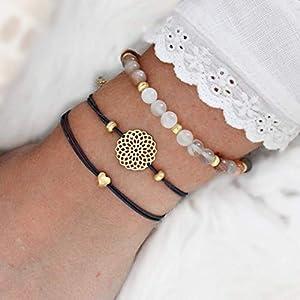 Armband Set, echter Mondstein, Mandala und Herz, elastisch, 925 Silber oder Silber vergoldet, perfektes Geschenk für…