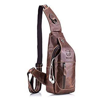 41Nl3B1UHPL. SS324  - Bolsa bandolera de cuero autentico mochila de pecho y hombros resistentes al agua Vintage Llevar cruzado mochila de cuerpo para hombres mujeres viajar escalar trabajar escuela