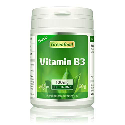 Vitamin B3 (Niacin), 100 mg, hochdosiert, 180 Tabletten, vegan - das Glücks-Vitamin, fördert die Durchblutung. OHNE künstliche Zusätze. Ohne Gentechnik. -